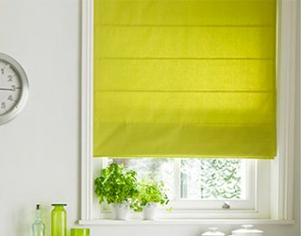 Lime green roman blinds