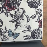 White, red and blue floral and butterfly print for blinds and curtains