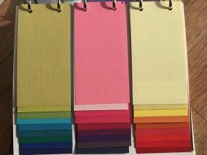 Sample swatches of colours and prints for blinds and curtains. Used for Brixham Blinds blog.
