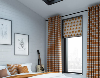 Printed curtain and roman blind combo