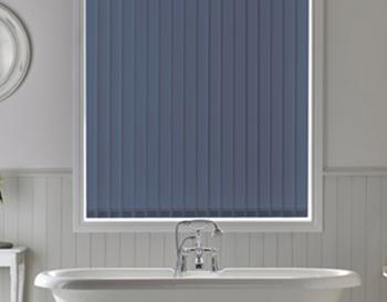 Navy blue vertical blinds for bathroom window