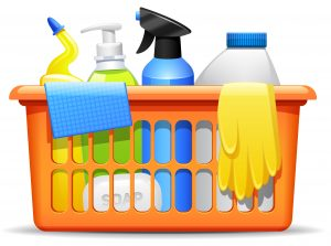 Household cleaning products and accessories in basket realistic pictogram with detergent spay and rubber gloves abstract vector illustration