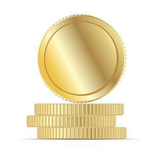 Gold Coin Money Stack Flat vector Illustration. Round Penny Cartoon Icon. Business Income Earnings. Yellow Metal Cent Realistic 3d Design. Golden Treasure or Casino Winning Fortune. Abstract Currency.