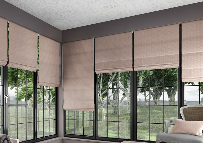 Avery Blush Roman blinds