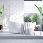 Modern Bathroom interior design,white bathtub on on white tile wall and concrete floor tile ,3d render