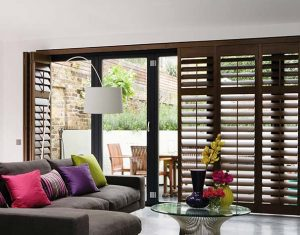 Wooden Shutter blinds in a living room