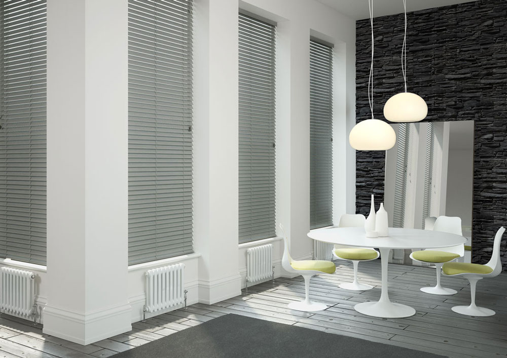 Silver long venetian blinds in a dining area