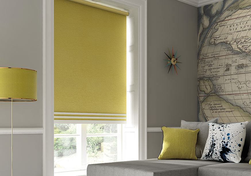 Lime green roller blinds in a living room