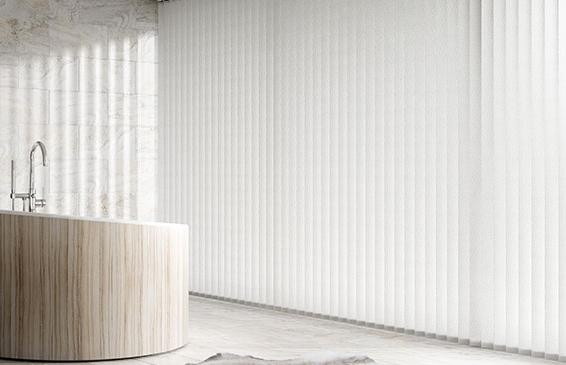 White vertical blinds for bathroom
