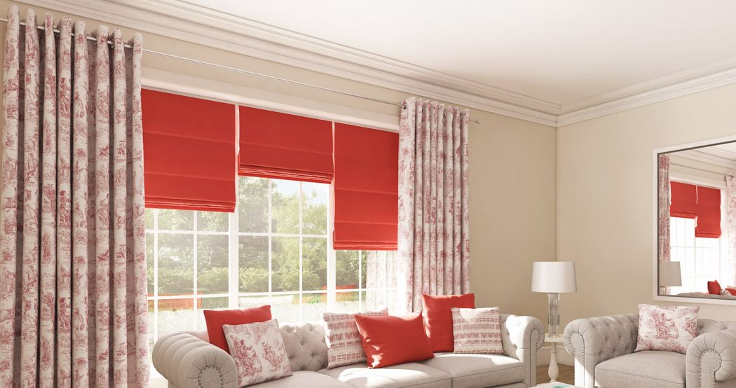 Coral roman blinds in living room