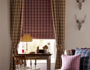Printed curtain and roller blind combo