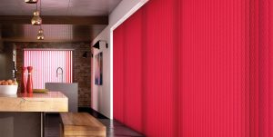 red vertical blinds in kitchen
