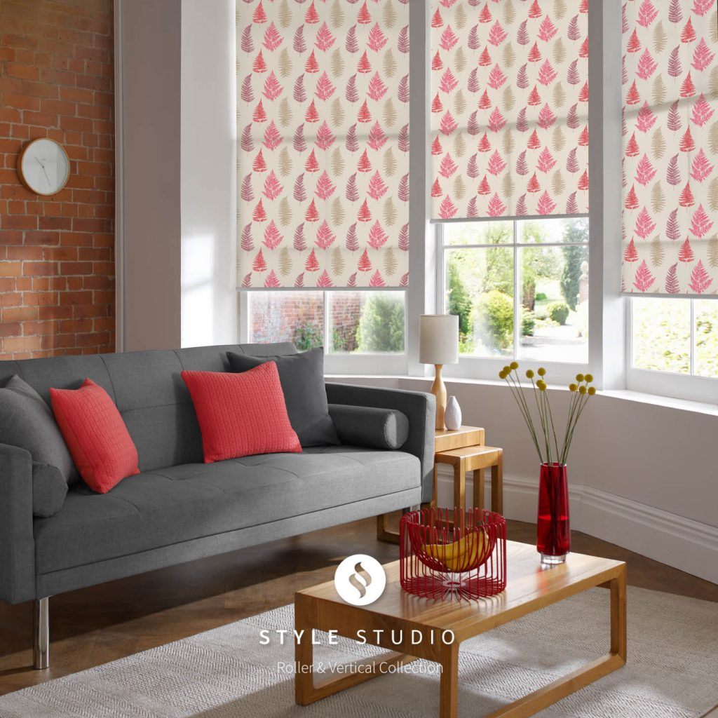 Fern Redcurrant Living Room Roller