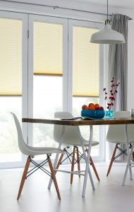 Yellow and cream infusion venetian blinds for kitchen