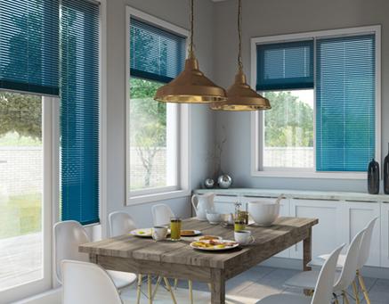 Blue shutter blinds