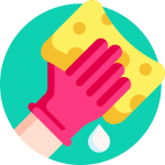 wiping cleaning with a sponge icon