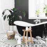 Bespoke blinds:black and white bathroom