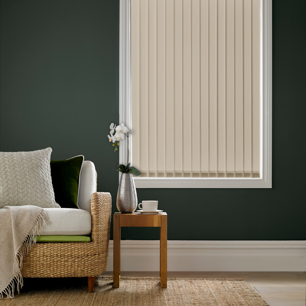 Vertical fitted blinds in living room