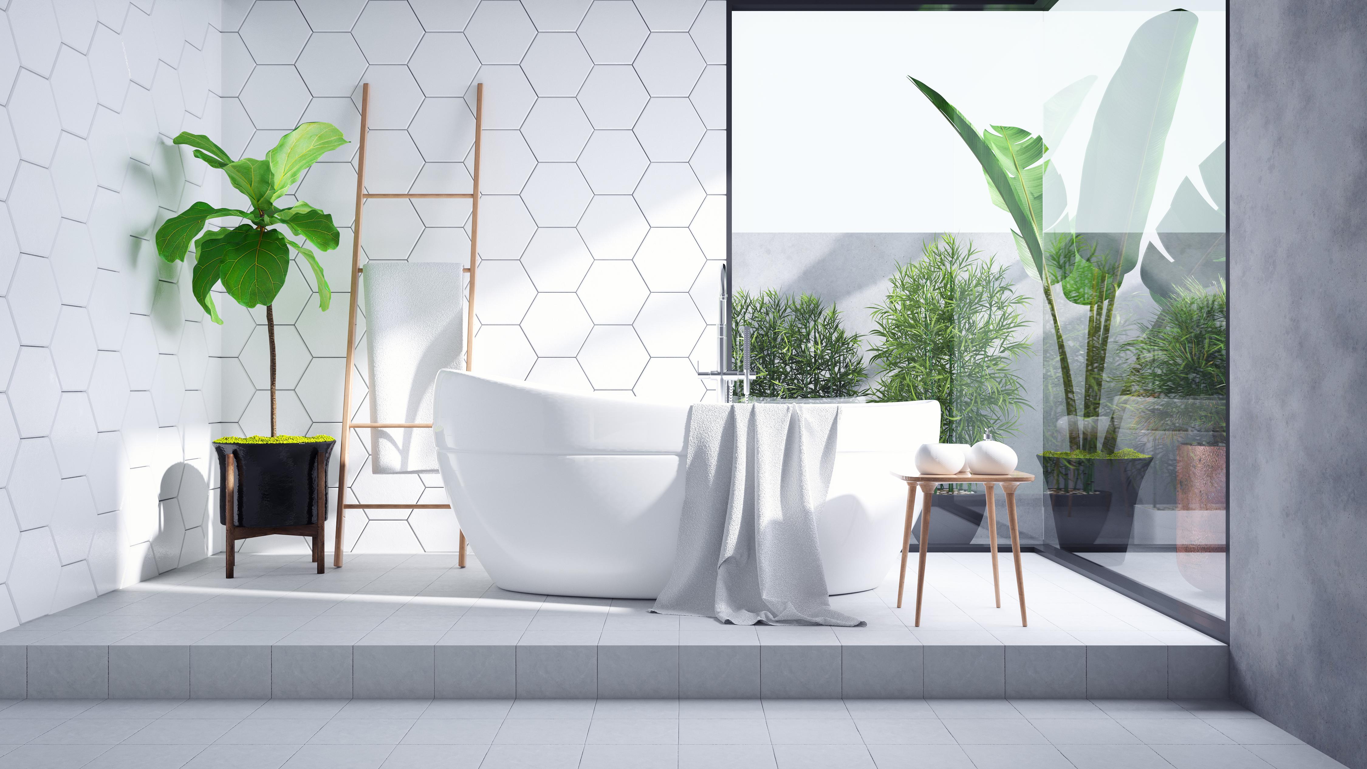 Modern Bathroom interior design,white bathtub on on white tile wall and concrete floor tile ,3d render