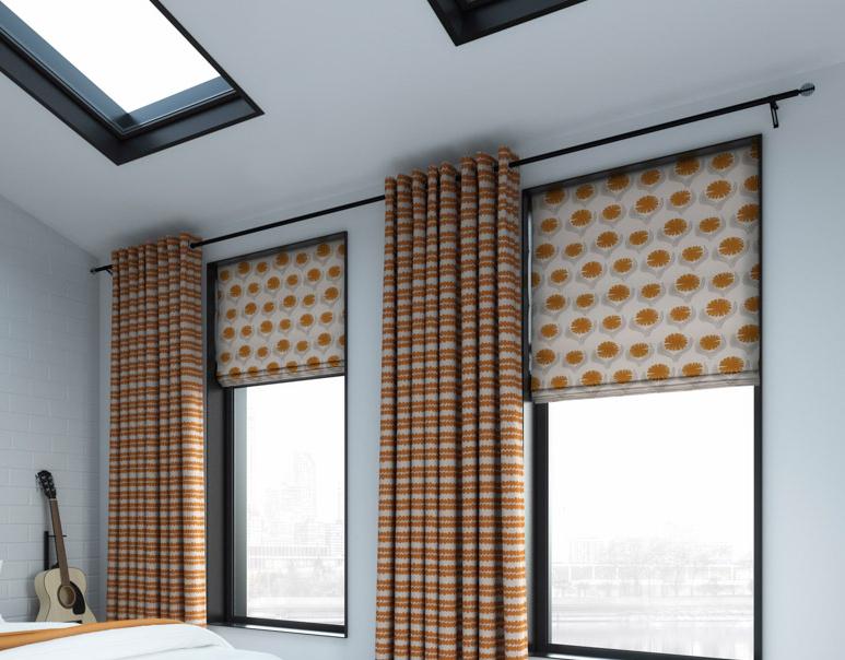 Jive orange roman blackout blinds