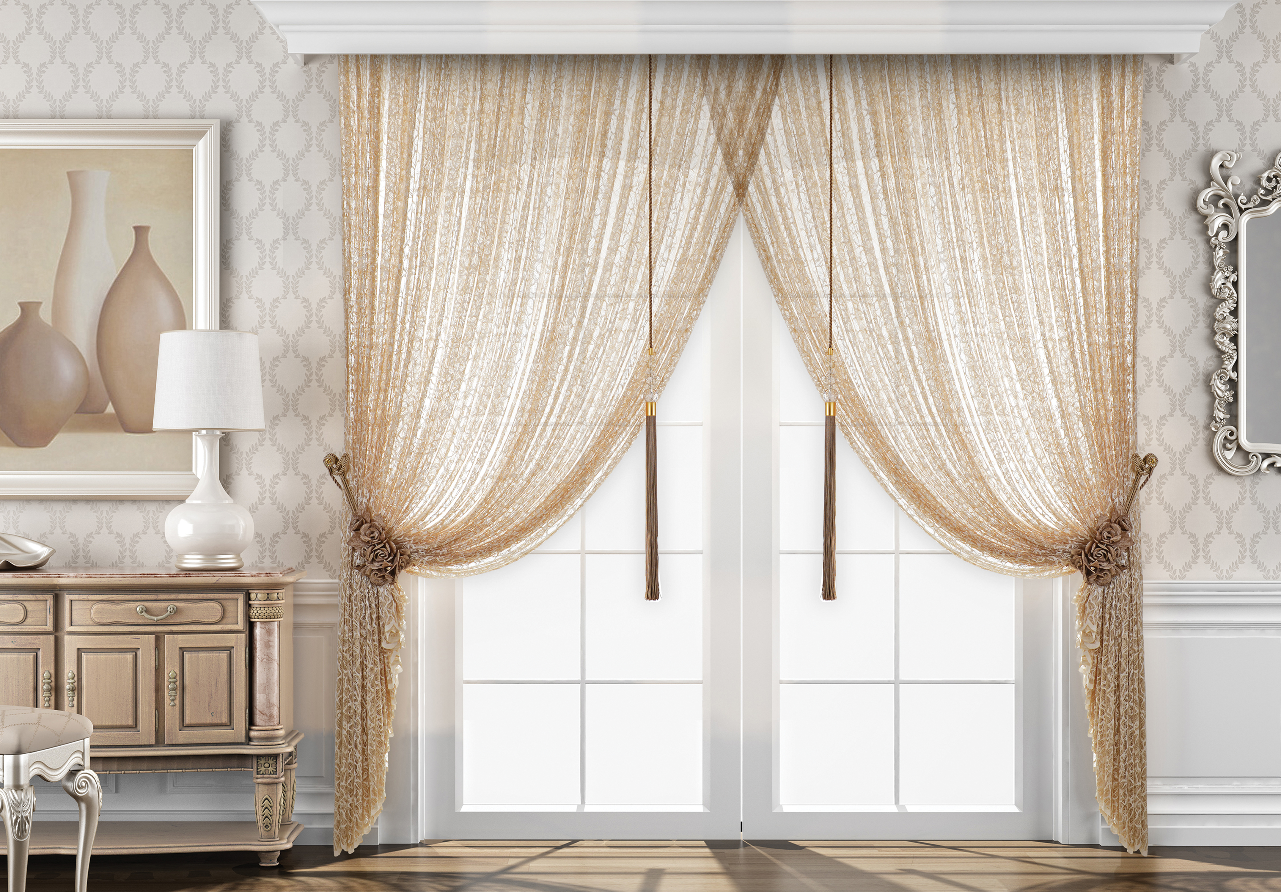 Statement piece curtains in a bedroom
